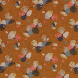 Tissu Jersey Molletonné  Fleurs - Orange rouille
