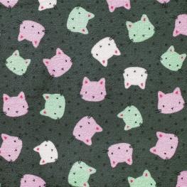 Tissu Polaire Double Face Têtes de chats - Gris