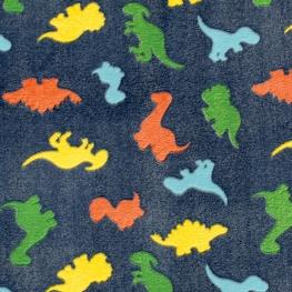 Tissu Polaire Dinosaures Vintage - Bleu Marine