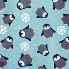 Tissu Polaire Pingouins - Bleu ciel