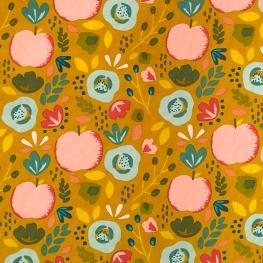Tissu Popeline Coton Fruits du Verger - Moutarde