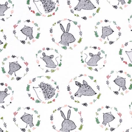 Tissu Jersey Velours Animaux de la Forêt - Blanc