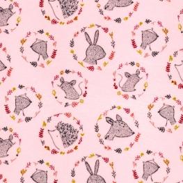 Tissu Jersey Velours Animaux de la Forêt - Rose