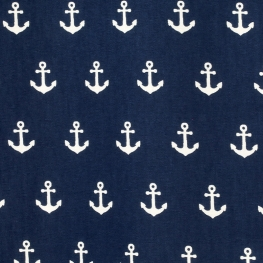 Tissu Popeline Coton Ancre marine - Bleu Marine