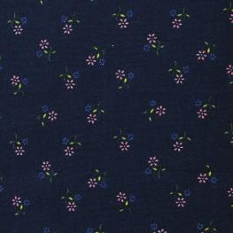 Tissu Popeline Coton Douce Fleurs - Bleu Marine