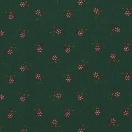 Tissu Popeline Coton Douce Fleurs - Vert