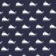 Tissu Coton Petites Baleines - Bleu Marine