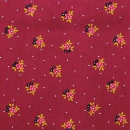 Tissu Popeline Coton Fleurs - Lie de vin