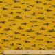 Tissu Jersey Molletonné Voitures de Course - Moutarde