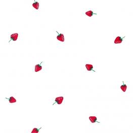 Tissu Popeline Fraises - Blanc