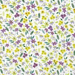 Tissu Popeline Jardin Fleuri - Blanc & Jaune