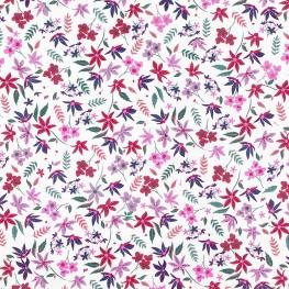 Tissu Popeline Jardin Fleuri - Blanc & Rose