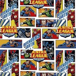 Tissu Popeline Justice League DC COMICS - Blanc