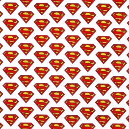 Tissu Popeline Logo Superman DC COMICS - Blanc