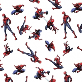 Tissu Popeline Spiderman Marvel - Blanc
