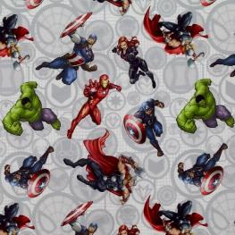 Tissu Popeline Avengers Marvel - Blanc