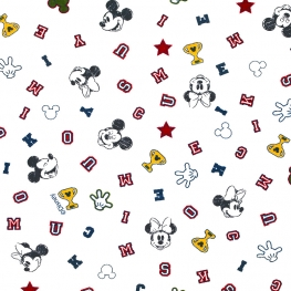Tissu Popeline Mickey en folie DISNEY - Blanc