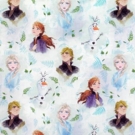 Tissu Popeline Portraits La Reine des Neiges 2 DISNEY - Blanc & Bleu