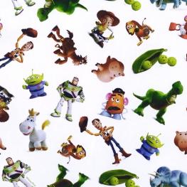 Tissu Popeline Bio Toy Story 3 DISNEY PIXAR - Blanc