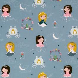 Tissu Popeline Princesses et Grenouilles 100% Coton Bio GOTS - Bleu clair