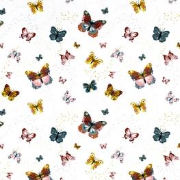Tissu Popeline Bio Papillons - Blanc