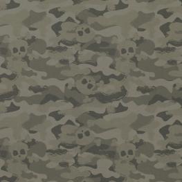 Tissu Popeline Bio Camouflage Tête de Mort - Vert Foncé