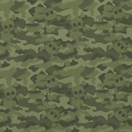 Tissu Popeline Bio Camouflage Tête de Mort - Vert Clair