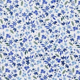 Tissu Popeline Jardin Fleuri - Blanc & Bleu