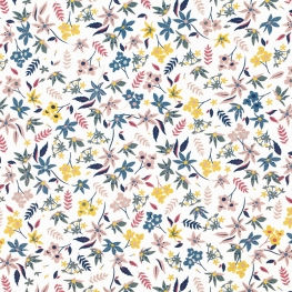 Tissu Popeline Jardin Fleuri - Bleu & Vieux Rose