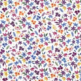 Tissu Popeline Jardin Fleuri - Multicolore