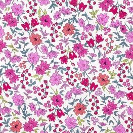 Tissu Popeline Jardin Botanique - Rose Fushia