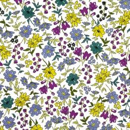 Tissu Popeline Jardin Botanique - Magenta & Jaune Anis