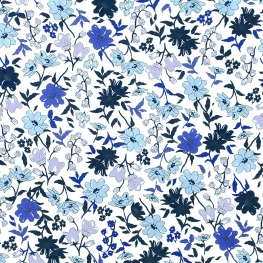 Tissu Popeline Jardin Botanique - Bleu