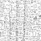 Tissu Satin de Coton Mathématique - Blanc