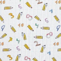 Tissu Satin de Coton Cahier d'Ecole Mathématique - Blanc