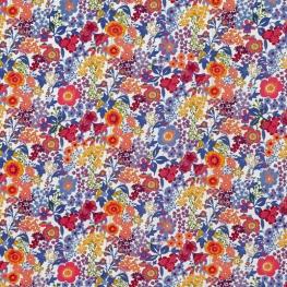 Tissu Popeline Mélange Floral - Bleu et Orange