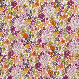 Tissu Popeline Mélange Floral - Violet & Orange