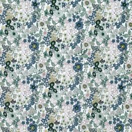 Tissu Popeline Mélange Floral - Bleu & Vert Pâle