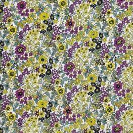 Tissu Popeline Mélange Floral - Violet & Jaune Anis