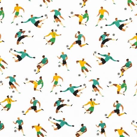 Tissu Satin de Coton Footballeurs - Blanc