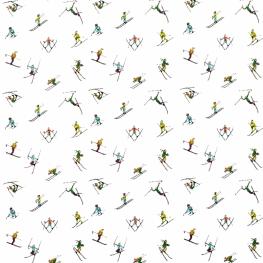 Tissu Satin de Coton Petits Skieurs - Blanc