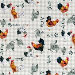 Tissu Coton Cretonne Le Coq - Blanc & Gris