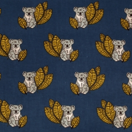 Tissu Coton Cretonne Koala - Bleu Marine