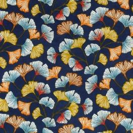 Tissu Coton Cretonne Ginkgo - Bleu Marine