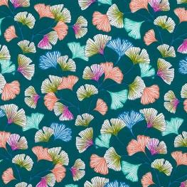 Tissu Coton Cretonne Ginkgo - Émeraude