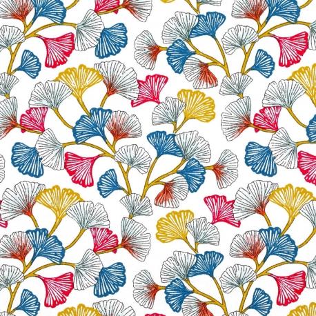 Tissu Coton Cretonne Ginkgo - Blanc