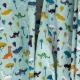 Tissu Coton Cretonne Petits Dinosaures - Bleu lagon