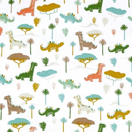 Tissu Coton Cretonne Petits Dinosaures - Blanc