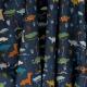 Tissu Coton Cretonne Petits Dinosaures - Bleu Marine