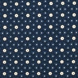 Tissu Coton Cretonne Mosaïque - Bleu Marine
